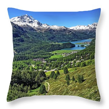 Swiss Alps And Lake Throw Pillow