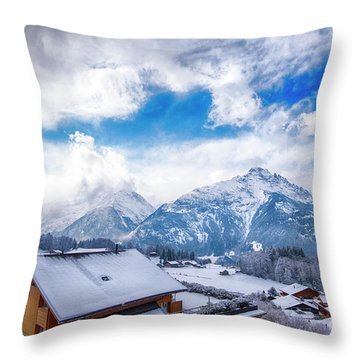 Swiss Alps Throw Pillow