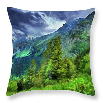 Swiss Countryside Throw Pillow