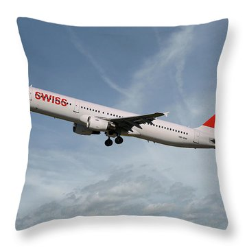 Swiss International Air Lines Airbus A321-111 Throw Pillow