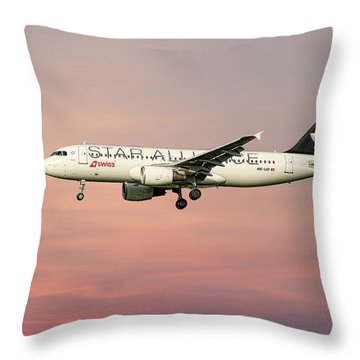 Swiss Star Alliance Livery Airbus A320-214 4 Throw Pillow