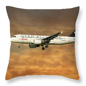Swiss Star Alliance Livery Airbus A320-214 6 Throw Pillow