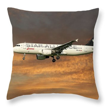 Swiss Star Alliance Livery Airbus A320-214 7 Throw Pillow