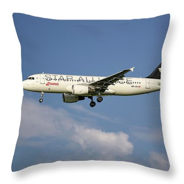 Swiss Star Alliance Livery Airbus A320-214 8 Throw Pillow