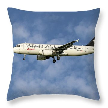 Swiss Star Alliance Livery Airbus A320-214 5 Throw Pillow