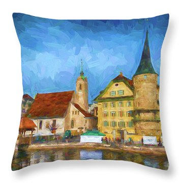 Swiss Town Throw Pillow