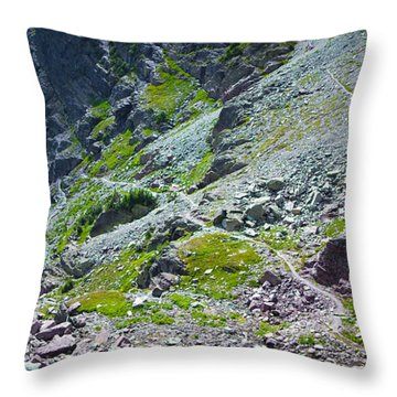 Switchbacks Below Comeau Pass Throw Pillow