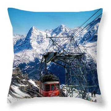 Switzerland Alps Schilthorn Bahn Cable Car  Throw Pillow