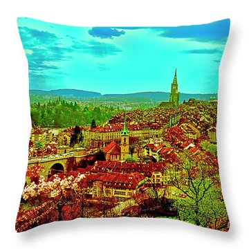 Throw Pillow featuring the photograph Switzerland Bern City View Matte Aare River    by Tom Jelen