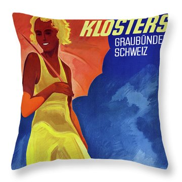 Switzerland Graubuenden Vintage Poster Restored Throw Pillow by Carsten Reisinger