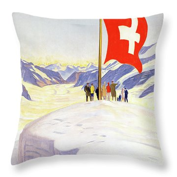 Switzerland Jungfrau Railway Vintage Poster Throw Pillow by Carsten Reisinger