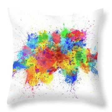 Switzerland Paint Splashes Map Throw Pillow
