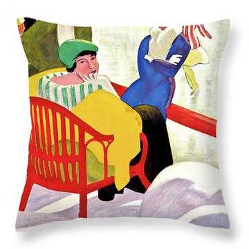 Switzerland, St. Moritz, Ice Skating Throw Pillow