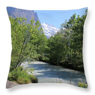 Switzerland Valley With Alps And River In Spring Throw Pillow