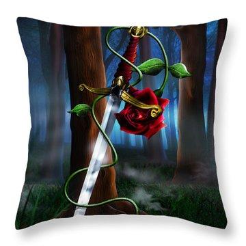 Sword And Rose Throw Pillow