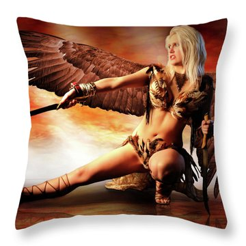 Swords Of The Hawk Woman Throw Pillow
