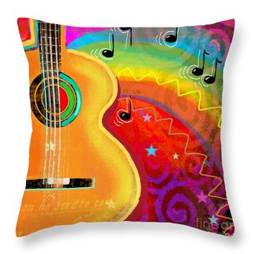 Sxsw Musical Guitar Fantasy Painting Print Throw Pillow