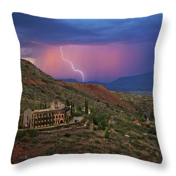 Throw Pillow featuring the photograph Sycamore Canyon Lightning With Little Daisy by Ron Chilston