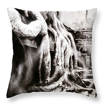 Throw Pillow featuring the painting Sycamore Tree Overgrowing Ruins- Cambodia by Ryan Fox