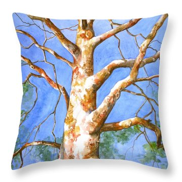 Sycamore Tree With A Memory Throw Pillow by Patricia Allingham Carlson