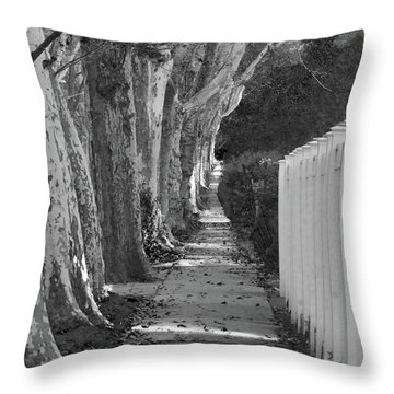 Sycamore Walk-grayscale Version Throw Pillow