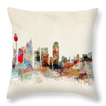 Throw Pillow featuring the painting Sydney Australia by Bri B