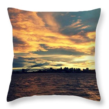 Sydney Harbour At Sunset Throw Pillow