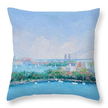 Sydney Harbour Bridge - Sydney Opera House - Sydney Harbour Throw Pillow by Jan Matson