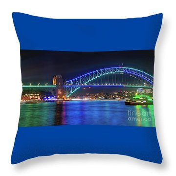 Throw Pillow featuring the photograph Sydney Harbour Green And Blue By Kaye Menner by Kaye Menner