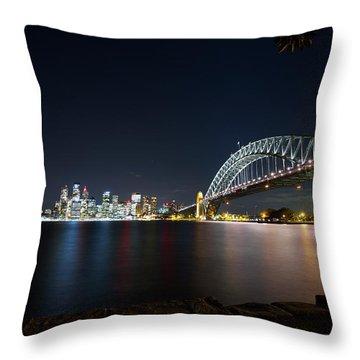Sydney Harbour Silk Throw Pillow