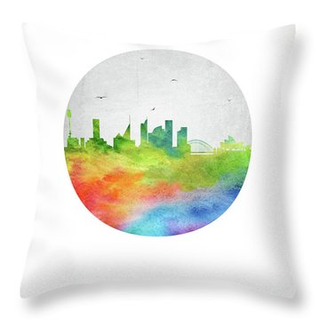 Sydney Skyline Ausy20 Throw Pillow by Aged Pixel
