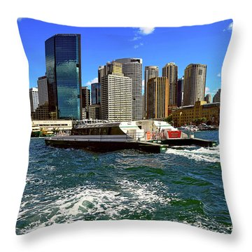 Sydney Skyline From Harbor By Kaye Menner Throw Pillow