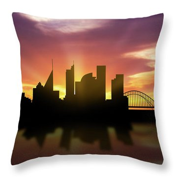 Sydney Skyline Sunset Ausy22 Throw Pillow by Aged Pixel