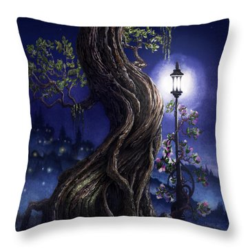 Throw Pillow featuring the painting Sylvia And Her Lamp At Dusk by Curtiss Shaffer