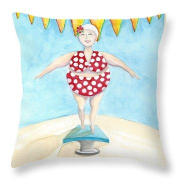 Sylvia At The Pool Throw Pillow
