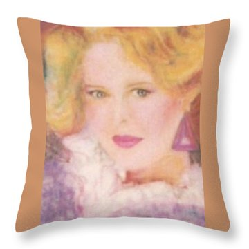 Throw Pillow featuring the drawing Sylvia by Denise Fulmer
