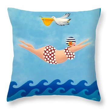 Sylvia Diving II Throw Pillow