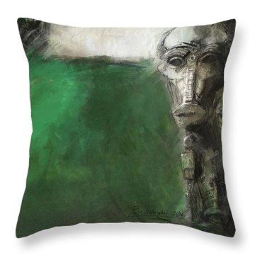 Symbol Mask Painting - 03 Throw Pillow by Behzad Sohrabi