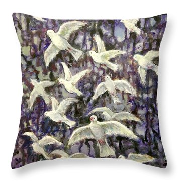 Throw Pillow featuring the painting Symbol  Of Peace by Laila Awad Jamaleldin