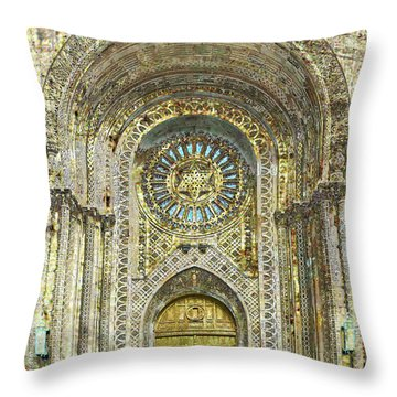 Throw Pillow featuring the mixed media Synagogue by Tony Rubino