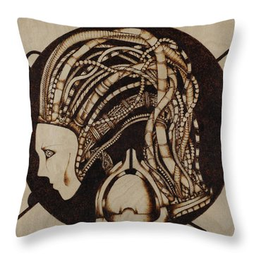 Throw Pillow featuring the pyrography Synth by Jeff DOttavio