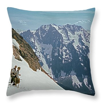 T-04402 Fred Beckey And Joe Hieb After First Ascent Forbidden Peak Throw Pillow