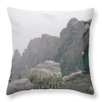 T-04701 Fred Beckey On Mt. Si 1958  Throw Pillow