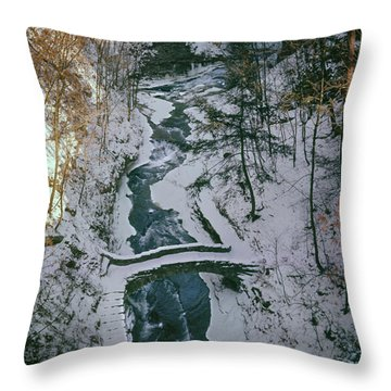 Throw Pillow featuring the photograph T-31501 Gorge Snow Cornell U Campus by Ed Cooper Photography
