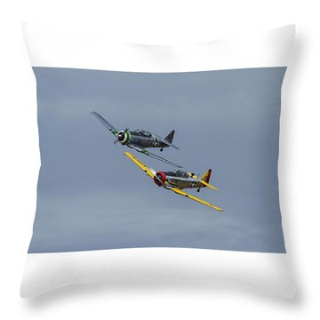 Throw Pillow featuring the photograph T-6 Trainers by Elvira Butler