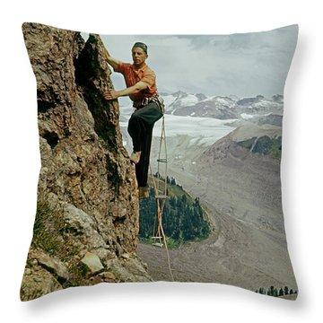 T-902901 Fred Beckey Climbing Throw Pillow