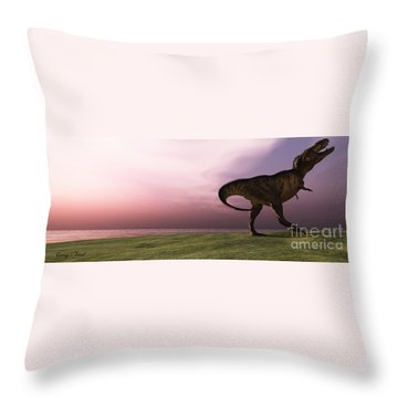 T-rex At Sunrise Throw Pillow by Corey Ford