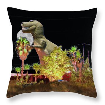 T-rex In The Desert Night Throw Pillow