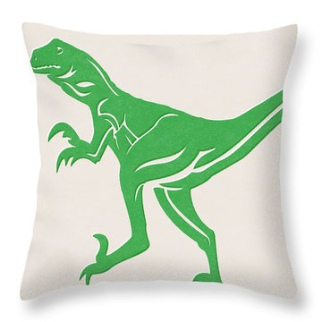 T-rex Throw Pillow by Linda Woods