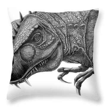 T-rex Throw Pillow by Murphy Elliott